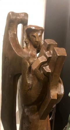 Jan Joel Martel Jan Joel Martel Art Deco Cubist Bronze Musician Angel Monumental 2 of 8 - 1386819