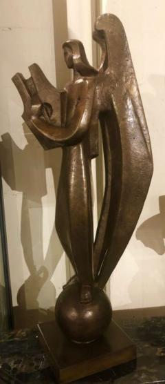 Jan Joel Martel Jan Joel Martel Art Deco Cubist Bronze Musician Angel Monumental 2 of 8 - 1386821