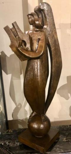 Jan Joel Martel Jan Joel Martel Art Deco Cubist Bronze Musician Angel Monumental 2 of 8 - 1386826
