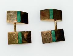 Janesich Janesich 18K Gold Jade Cuff Links in original Box - 1953134