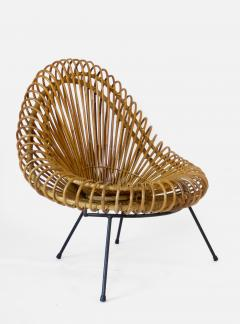 Janine Abraham Dirk Jan Rol Janine Abraham and Dirk Jan Rol French Rattan Lounge Chair for Edition Rougier - 1211465