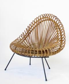 Janine Abraham Dirk Jan Rol Janine Abraham and Dirk Jan Rol French Rattan Lounge Chair for Edition Rougier - 1211473