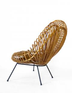 Janine Abraham Dirk Jan Rol Janine Abraham and Dirk Jan Rol French Rattan Lounge Chair for Edition Rougier - 1211474