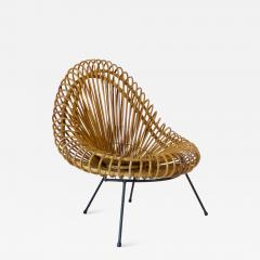 Janine Abraham Dirk Jan Rol Janine Abraham and Dirk Jan Rol French Rattan Lounge Chair for Edition Rougier - 1211956
