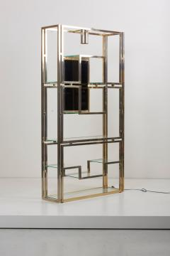 Jean Paul Barray Kim Moltzer Kim Moltzer Brass Silvered Metal and Glass Illuminated Open Display Case - 1076475