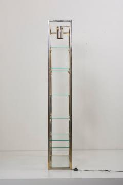 Jean Paul Barray Kim Moltzer Kim Moltzer Brass Silvered Metal and Glass Illuminated Open Display Case - 1076480