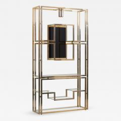 Jean Paul Barray Kim Moltzer Kim Moltzer Brass Silvered Metal and Glass Illuminated Open Display Case - 1076853
