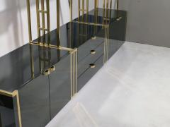 Jean Paul Barray Kim Moltzer Rare Kim Moltzer French Lacquer and brass shelves 1970s - 1114859