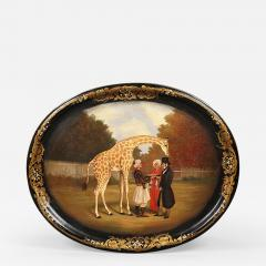 Jennens Bettridge A papier mache tray depicting The Nubian Giraffe  - 923870