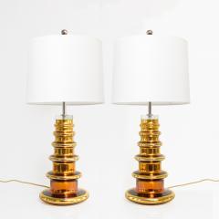 Johansfors Glasbruk JOHANSFORS PAIR OF GOLD MERCURY GLASS LAMPS SWEDEN 1960  - 1867695
