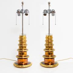 Johansfors Glasbruk JOHANSFORS PAIR OF GOLD MERCURY GLASS LAMPS SWEDEN 1960  - 1867696