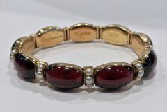 John Brogden John Brogden Gold Carbuncle and Pearl Bracelet C 1855 - 1189331