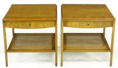 John Widdicomb Co Pair Widdicomb Bleached Walnut Cane Single Drawer End Tables - 203703