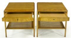 John Widdicomb Co Pair Widdicomb Bleached Walnut Cane Single Drawer End Tables - 203713