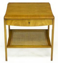John Widdicomb Co Pair Widdicomb Bleached Walnut Cane Single Drawer End Tables - 203714