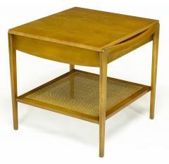 John Widdicomb Co Pair Widdicomb Bleached Walnut Cane Single Drawer End Tables - 203716