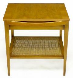 John Widdicomb Co Pair Widdicomb Bleached Walnut Cane Single Drawer End Tables - 203717