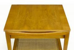 John Widdicomb Co Pair Widdicomb Bleached Walnut Cane Single Drawer End Tables - 203718