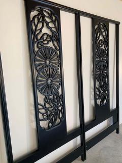 John Widdicomb Co Widdicomb Furniture Co Bert England Orientation Group Carved Ebonized Mahogany Tall King Headboard - 1920415