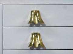 John Widdicomb Co Widdicomb Furniture Co Widdicomb White Lacquered Dresser Cabinet with Brass Pulls - 1540578