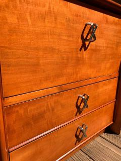 Johnson Furniture Pair of Paul Frankl for Johnson Furniture Cherry Nightstands with Nickel X Pulls - 1274704