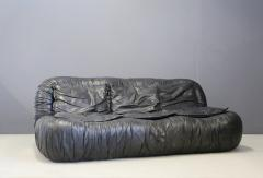 Jonathan De Pas Donato D Urbino Paolo Lomazzi Italian Sofa by De Pas Durbino and Lomazzi in Leather Black 1970s - 1468082
