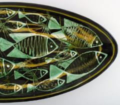 K hler Astrid Tjalk for K hler Oblong huge unique hand painted dish of pottery - 1217535