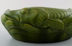 K hler Karl Hansen Reistrup for K hler bowl with pikes Beautiful green glaze - 1217406