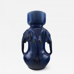 K hler Very large vase of pottery with dark blue glaze modeled with elephant heads - 1218653