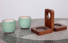 K ramos Keramos Ceramic Mugs and Oak Tray France 1950s - 595064