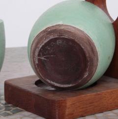 K ramos Keramos Ceramic Mugs and Oak Tray France 1950s - 595065