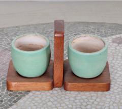 K ramos Keramos Ceramic Mugs and Oak Tray France 1950s - 595067