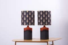 Kaiser Porcelain Pair of Kaiser Ceramic Lamps Lava Glace with a Curated Shade by Harry Clark - 1366625