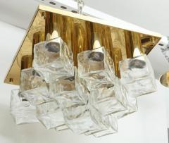 Kalmar Franken KG Kalmar Brass and Glass Ice Cube Flush Mount - 918339