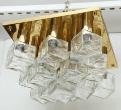 Kalmar Franken KG Kalmar Brass and Glass Ice Cube Flush Mount - 918340