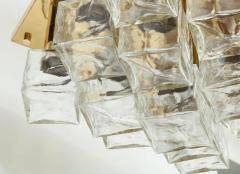 Kalmar Franken KG Kalmar Brass and Glass Ice Cube Flush Mount - 918345