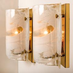 Kalmar Lighting J T Kalmar Solid Pair of Murano Glass Brass Sconces Wall Lamps Austria 1960 - 989152