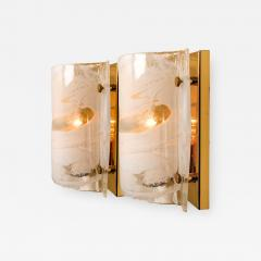 Kalmar Lighting J T Kalmar Solid Pair of Murano Glass Brass Sconces Wall Lamps Austria 1960 - 990869