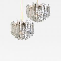 Kalmar Lighting Pair of Large Modern Brass Ice Glass Chandeliers by J T Kalmar - 990876