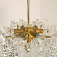 Kalmar Lighting Pair of Modern Kalmar Brass Two Tiered Ice Glass Pedant Chandeliers 1970s - 1000188