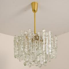 Kalmar Lighting Pair of Modern Kalmar Brass Two Tiered Ice Glass Pedant Chandeliers 1970s - 1000189