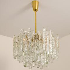 Kalmar Lighting Pair of Modern Kalmar Brass Two Tiered Ice Glass Pedant Chandeliers 1970s - 1000190