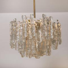 Kalmar Lighting Pair of Modern Kalmar Brass Two Tiered Ice Glass Pedant Chandeliers 1970s - 1000194