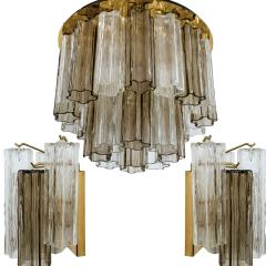Kalmar Lighting Rare J T Kalmar Pagoda Chandelier in Blown Glass and Brass 1960 - 999843