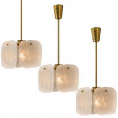 Kalmar Lighting Set Glass and Brass Light Fixtures Designed by J T Kalmar Austria 1960s - 1003649