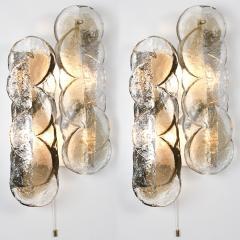 Kalmar Lighting Set of Four Large Kalmar Citrus Swirl Smoked Glass Light Fixtures Austria 1969 - 1002465