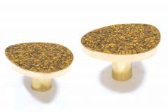 Kam Tin Pair of Tiger eye side tables - 1245115
