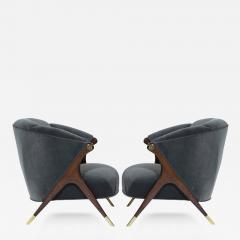 Karpen of California Modernist Karpen Lounge Chairs in Granite Velvet - 342209