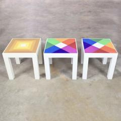 Kartell Trio of mod pop art plastic parsons style square side tables style kartell - 1598501