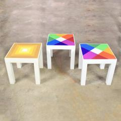 Kartell Trio of mod pop art plastic parsons style square side tables style kartell - 1598502